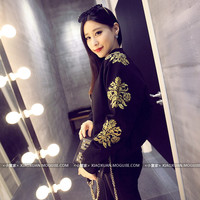 Korea delicate gold thread embroidered flowers jacket jacket