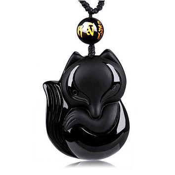 Black Obsidian Hand-Carved Lucky Fox Amulet pendant necklace