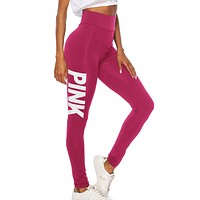 Victoria New fashion letter print sports leisure pants Rose Red
