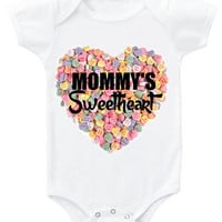"""Valentine's """"Mommy's Sweetheart"""" candy background heart graphic baby bodysuit or organic cotton toddler t shirt"""