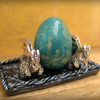 Teal Dragon Egg Speckled with Gold in Dolls House Miniature