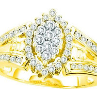 Diamond Round & Bagguette Fashion Ring in 14k Gold 0.75 ctw