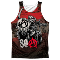 SONS OF ANARCHY/REAPER BALL-ADULT 100% POLY TANK TOP-WHITE