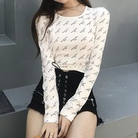 BALENCIAGA Fashion Women Sexy Chic Print Long Sleeve Crop Top