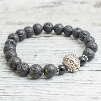 Black lava stone and black onyx beaded silver Lion head stretchy bracelet, made to order yoga bracelet, mens bracelet, womens bracelet