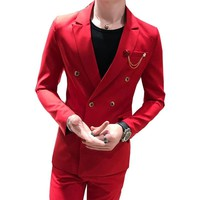 2 Piece Red Double Breasted Mens Suits With Pants 2018 New Costume Homme Slim Fit Wedding Groom Casual Business Terno Masculino