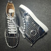 Christian Louboutin CL Louis Spikes Style #1856 Sneakers Fashion Shoes Best Deal Online