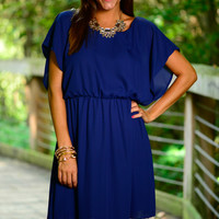 Flutter And Lace Dress, Navy
