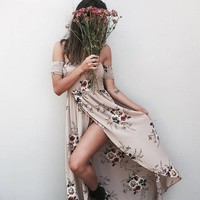 Split boho print long dress women Off shoulder beach dress Elegant chiffon white maxi dress vestidos de festa