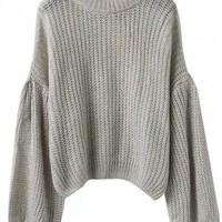 Gray Drop Shoulder Puff Sleeve Knit Sweater