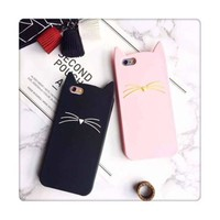 Pink Cats Iphone Apple Cartoons Phone Case Silicone Phone Case [8069825927]