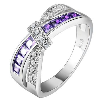 Cross Finger Ring for Lady Paved CZ Zircon Luxury Hot Princess Women Wedding Engagement Ring Jewelry