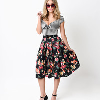 Hell Bunny Retro Woodland Floral Belted Hermeline Swing Skirt