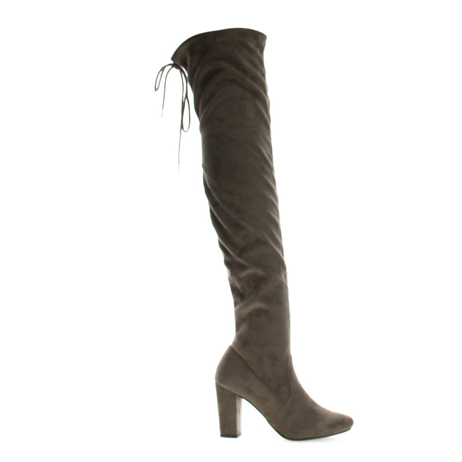 Image of Snivy By Delicious, OTK Over Knee Thigh High Slouchy Boots w/ Back Lace Tie & Block Heel