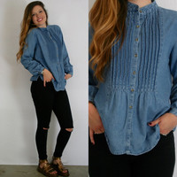 High Neck DENIM Shirt // Small // Pleated Collarless 90s