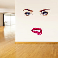 Full Color Wall Decal Mural Sticker Art Paintings Face Woman Eye Lips Fashion Hair salon Dress (col354)