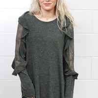 Lace Mesh + Ruffled Long Sleeve Top {Heather Olive}