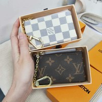 LV tide brand men and women classic Monogram checkerboard chain keycase coin purse