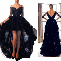 Sexy Lace Prom Dress With Half Sleeve Black Backless High Low Party Gowns Straps Formal Dress Evening Gown