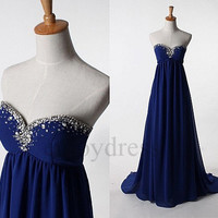 Dark Blue Long Beaded Prom Dresses Evening Gowns Bridesmaid Dresses 2014 Wedding Party Dresses Fashion Party Dress Evening Dresses