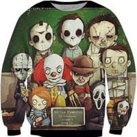 Children Sized Horror Movie Characters Crowneck