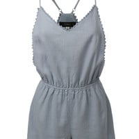 LE3NO Womens Linen Racerback Romper with Adjustable Straps (CLEARANCE)