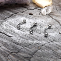 """16g Rook earring stainless steel gem ball ends curved barbell 5/16"""" length vertical labret eyebrow piercing rings cartilage  barbell silver"""