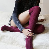 Free People Womens Fray Pointelle Over the Knee Sock
