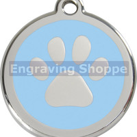 Light Blue Paw Print Enamel and Stainless Steel Personalized Custom Pet Tag LIFETIME GUARANTEE ID Tag Dog Tags and Cat Tags Free Engraving