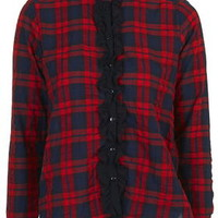 Ruffle Front Check Shirt - Red