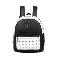 Women BlackWhite Backpack PU Leather Rivet Patchwork Casual Student Girls Schoolbag Teenagers Small Vintage Backpacks SM6