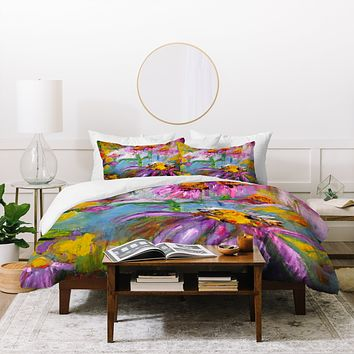 Ginette Fine Art Purple Coneflowers And Bees Duvet Cover