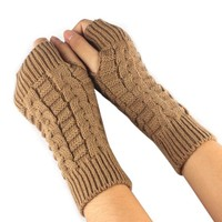 Mittens Women Fashion Knitted Arm Fingerless Soft Warm For Winter Gloves