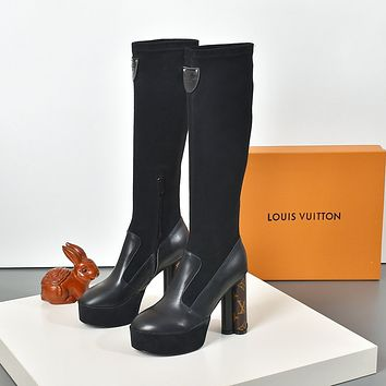 lv louis vuitton trending womens black leather side zip lace up ankle boots shoes high boots 263