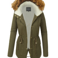 LE3NO Womens Cozy Sherpa Full Lined Anorak Hoodie Jacket with Pockets
