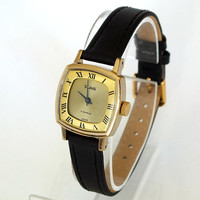 Vintage Womens Watch Slava Glory. Gold Plated Womans Watch 17 Jewels. Ladies Watch. Soviet Watch. Mechanical Womens Watch.