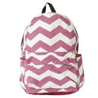 Wave Contrast Color Canvas Backpack Red