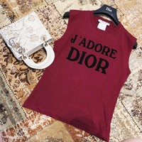 """""""Dior"""" Vintage All-match Fashion Letter Sleeveless T-shirt Women Tops"""
