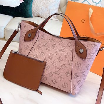 LV New Fashion Monogram Print Leather Handbag Shoulder Bag Crossbody Bag Two Piece Suit Pink