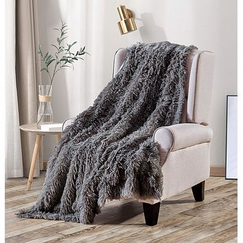 Viviland Luxury Long Shaggy Faux Fur Throw Blanket, Soft Plush Blanket for Bed Sofa Couch, Warm Decorative Fluffy Reversible Blanket for All Seasons,Gray,60x80 Inches Grey 60x80 inches