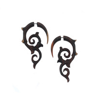 Carved Wood Earrings - Spiral Thorns