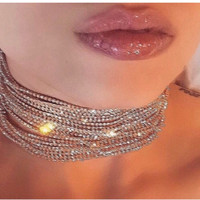 Elise- Luxe Multi Layered Crystal Rhinstone Chocker