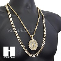 "MEDALLION PRAYING HANDS DIAMOND CUT 30"" CUBAN CHAIN NECKLACE SET G11"