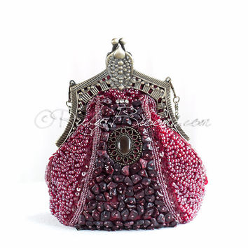 Burgundy Red Clutch Art Deco Beaded Sequin Purse Old Hollywood Red Evening Bag, Great Gatsby 1920 Flapper Girl Accessory Ruby Blooms Jewelry