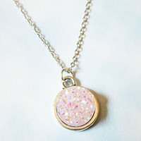 Pastel Light Pink Druzy Crystal Necklace, Pastel Crystal Chain Necklace