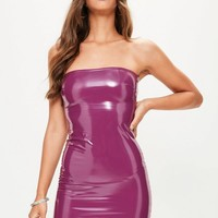 Missguided - Purple Vinyl Bodycon Dress