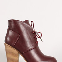 Lace Up Chunky Heel Desert Bootie