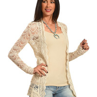 Young Essence Women's Beige Long Sleeve Lace Cardigan