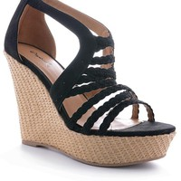 Black Felicia Weave Wedge Sandals