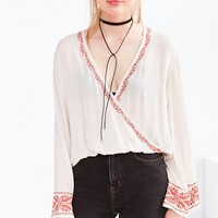 Ecote Cara Embroidered Surplice Blouse